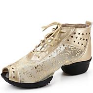 Na míru-Dámské-Taneční boty-Taneční tenisky-Kůže / Krajka-Nízký podpatek-Černá / Stříbrná / Zlatá