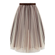 Women's Solid Brown / Gray Skirts , Holiday Above Knee