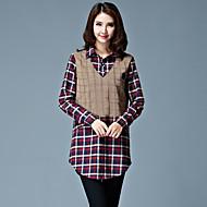 Overhemdkraag-Katoen / Polyester-Knoop-Vrouwen-Overhemd-Lange mouw