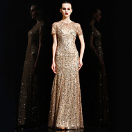 Formal Evening Dress Trumpet / Mermaid Jewel Floor-length Charmeuse / Sequined with Sequins