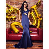 TS Couture® Formal Evening Dress - Dark Navy Trumpet/Mermaid V-neck Sweep/Brush Train Satin