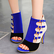 Women's Summer Heels / Peep Toe Velvet Office & Career / Dress / Casual Stiletto Heel Buckle / Hollow-out Black / Blue / Red