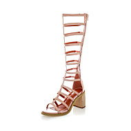 Women's Shoes Leather Chunky Heel Heels / Gladiator Sandals Dress / Casual Black / Almond(Genuine leather)