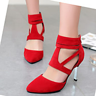 Women's Spring Summer Fall Winter Velvet Office & Career Dress Casual Stiletto Heel Hollow-out Zipper Black Red Almond