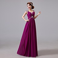 Cocktail Party / Formal Evening Dress A-line Jewel Floor-length Chiffon with Beading / Crystal Detailing / Side Draping / Sequins