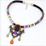 MISSING U Vintage / Party Alloy / Rhinestone / Gemstone & Crystal / Resin / Leather Statement Necklace