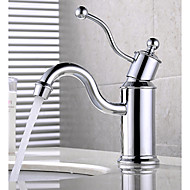 HPB Antique Chrome Finish Brass One Hole Single Handle Sink Faucet