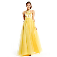 TS Couture Prom Formal Evening Dress - Elegant A-line Jewel Floor-length Tulle Charmeuse with Appliques