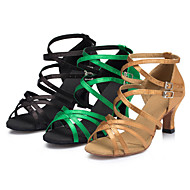 Customizable Women's Dance Shoes Latin / Salsa / Samba Satin Customized Heel Black / Yellow / Green