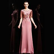 Formal Evening Dress Sheath / Column Bateau Floor-length Satin / Sequined with Appliques / Sequins
