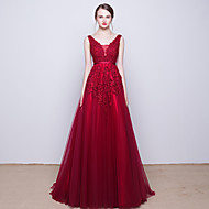Cocktail Party / Formal Evening Dress - Burgundy  V-neck Sweep/Brush Train Tulle