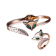 HKTC Elegant 18k Rose Gold Plated Emerald Green Crystal Eyes Fox Bangle and Ring Party Jewelry Set