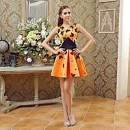 Cocktail Party Dress - Orange A-line V-neck Short/Mini Satin