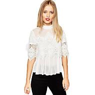 Women's Patchwork Lace Chiffon Fashion Leirsure Crew Neck ½ Length SleeveT-shirt See-through Blouses