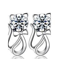 Női Beszúrós fülbevalók utánzat Diamond Divat luxus ékszer jelmez ékszerek Gyöngy Ezüst Hamis gyémánt Animal Shape Cica Ékszerek
