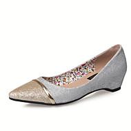 Women's Shoes Leatherette Flat Heel Ballerina / Pointed Toe / Closed Toe Flats Dress Black / White / Silver / Almond