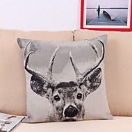Double Sided Design Pattern Cotton Flax Linen Pillow Cover Pillow Cases Christmas Reindeer Woven Embroidered Pillow