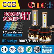 liancheng® 60W 6400lm 9 cob ~ 32v alto brilho levou farol kit-9007 / HB5 para o carro, off-road, utv, atv