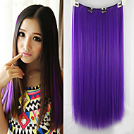 Hot Sale High Temperature Resistance Purple Color 26 Inch Long Straight 5 Clip Hairpiece Extension