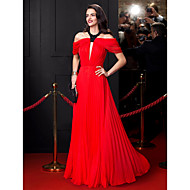 TS Couture® Formal Evening Dress A-line Jewel Floor-length Chiffon with Beading / Draping