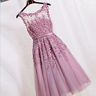 Cocktail Party Dress-Blushing Pink Ball Gown Jewel Tea-length Lace / Tulle