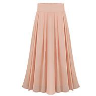 Women's Solid Pink / Black Skirts,Vintage / Boho Midi