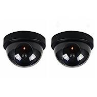 2pcs / pack interior e exterior de CCTV falso câmera de segurança cúpula manequim com flahsing vermelho levou luz