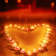 50PCS Valentine'S Day Of High-Grade Aluminum Box Smoke-Free Heart-Shaped Candles Romantic Propose Expressing Tea Wax