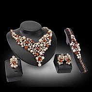 utánzat Diamond Szerelem luxus ékszer Drágakő Gyöngy 18K arany utánzat Diamond Kék Aranyozott 1 Nyaklánc 1 Pár fülbevaló 1 Karkötő 1 Gyűrű