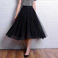 Jupes Aux femmes Mi-long Mignon Polyester Non Elastique