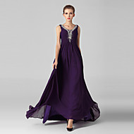 Formal Evening Dress-Grape Ball Gown V-neck Sweep/Brush Train Tulle / Sequined