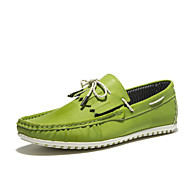 Men's Shoes Casual Nappa Leather Boat Shoes Black / Green / White