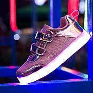 Meisjes Sneakers Synthetisch Tule Zomer Herfst Magic tape LED Platte hak Goud Zilver Roze Plat