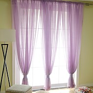Two Panels Modern Solid Bedroom Linen Sheer Curtains Shades