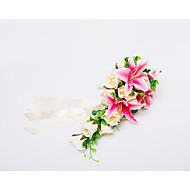 "Wedding Flowers Cascade Roses / Lilies Bouquets Wedding / Party/ Evening Satin 19.7""(Approx.50cm)"