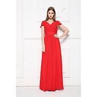 Floor-length Chiffon Bridesmaid Dress A-line V-neck with Ruffles / Sash / Ribbon / Side Draping