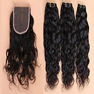 brasilialainen neitsyt hiukset sulkeminen Brasilian vesi wave pitsi sulkeminen hiukset niput 4kpl / erä
