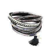 Dames Wikkelarmbanden Lederen armbanden Leder Strass Stof Legering Grijs Sieraden Voor Bruiloft Feest Dagelijks Causaal Sport Kerstcadeaus