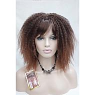 Kvinder Kinky Krøllet Afro Med Bangs Syntetisk hår Lokkløs