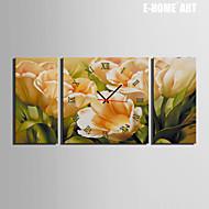 E-HOME® Yellow Tulip Clock in Canvas 3pcs