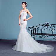 Trumpet/Mermaid Wedding Dress - White Court Train Scoop Lace / Tulle