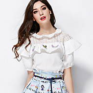 Women's Casual/Daily Sexy Summer Blouse,Print Round Neck Short Sleeve White Rayon / Polyester Thin