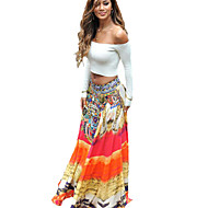 Women's Print Orange Skirts,Boho / Holiday / Beach Maxi