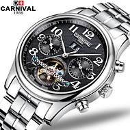 Carnival Men's Skeleton Watch Hollow Engraving Automatic self-winding Stainless Steel Band White