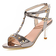 נעלי נשים-סנדלים-דמוי עור-פתוח-ורוד / אדום / כסוף / אפור / זהב-שמלה-עקב סטילטו