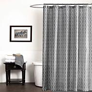 וילון המקלחת גיאומטרי אפור 71x72inch מודרני פשוט, 71x79inch