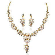 Women's 18k Gold White Pearl Statement Necklace Earrings Jewelry Set for Wedding Party