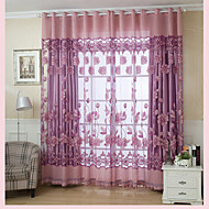 One Panel Country Floral Living Room Polyester Sheer Curtains Shades
