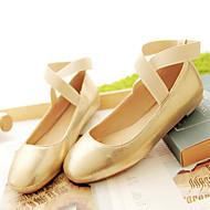 נעלי נשים-שטוחות-דמוי עור-מרובע-שחור / ורוד / כסוף / זהב-קז'ואל-עקב שטוח