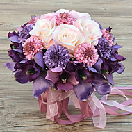Romantic Wedding Bouquet Delicate Purple Series Silk Colth Bride Hand Tied Bouquet